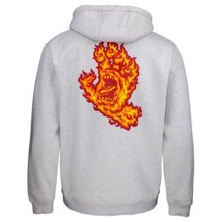 Santa Cruz Flame Hand Hooded Sweatshirt Athletic Heather