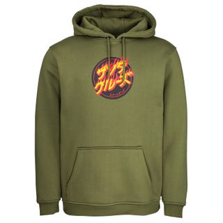 Santa Cruz Flaming Japanese Dot Hood Army Green