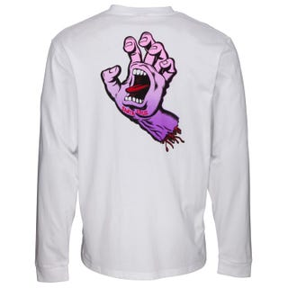 Santa Cruz Fade Hand Long Sleeve T Shirt White