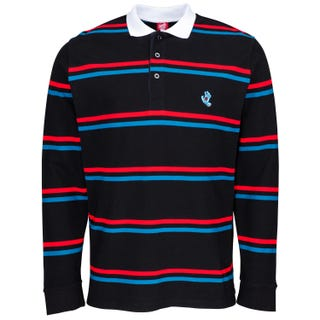Santa Cruz Screaming Mini Hand Stripe L/S Polo Black
