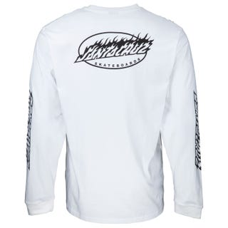 Oval Flame Dot Long Sleeve T-Shirt White