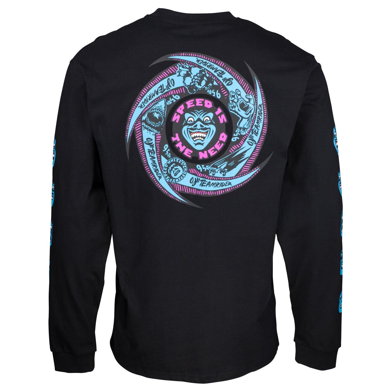 Santa Cruz Speed Wheels visages à Manches Longues T Shirt-Noir