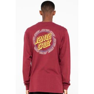 Santa Cruz Hollow Ring Dot L/S T-Shirt Burgundy