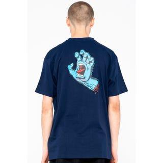 Screaming Hand Chest T-Shirt Dark Navy
