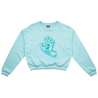 Screaming Hand Women Outline Crew Sweatshirt - Sky