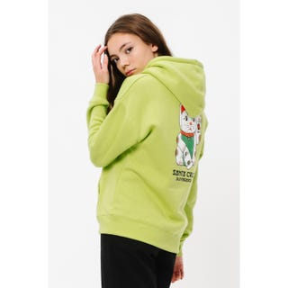 Santa Cruz Lucky Cat Hood Hoodie Glow Green
