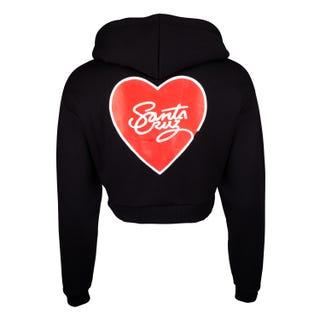 Santa Cruz Scripted Heart Cropped Hoodie Black