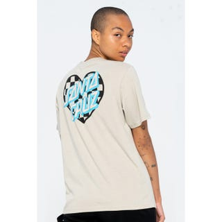 Santa Cruz Heart Dot Check T-Shirt Silver