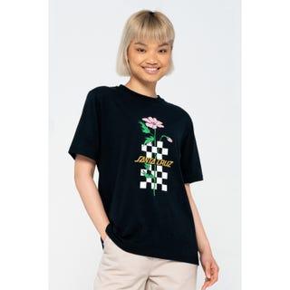 Santa Cruz Checkerbloom Strip T-Shirt Black