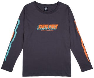 Santa Cruz Flow Strip T-Shirt Long Sleeve for Women - Black