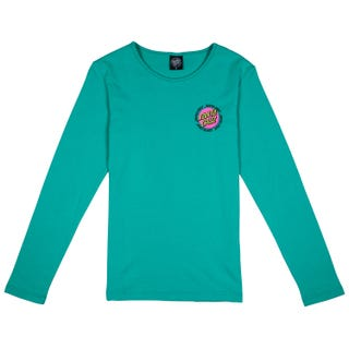 Santa Cruz Ringed Dot T-Shirt Long Sleeve for Women - Aqua