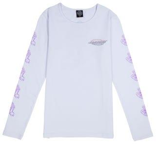 Santa Cruz Throwdown Hand T-Shirt Long Sleeve for Women - White