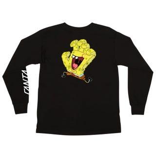 SpongeBob Hand Santa Cruz L/S Tee Shirt Black