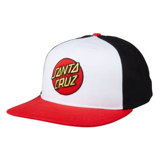 Santa Cruz Classic Dot Snapback Cap White / Black / Red