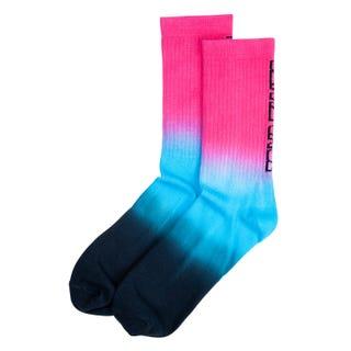 Santa Cruz Strip Fade Crew Sock Magenta/ Cyan/ Black