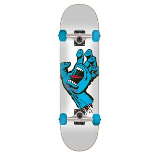 "Santa Cruz Screaming Hand 7.25"" Skateboard White /Blue"