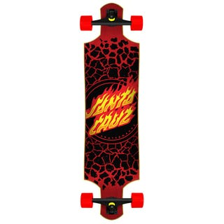"Santa Cruz Flame Dot Drop Down 40"" Skateboard Complete  Black / Red"